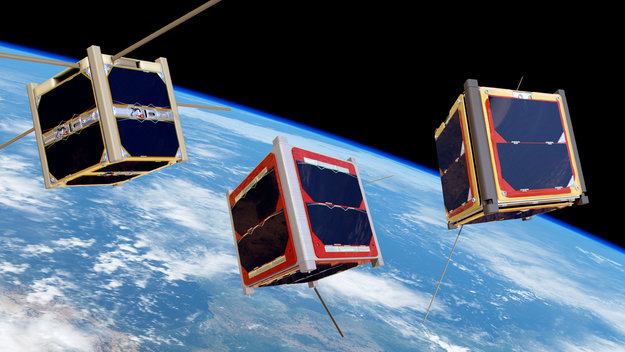 CubeSats orbiting Earth large
